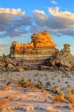 Preview iPhone wallpaper America, sky, prairie, rock, grass, mountains, sunset