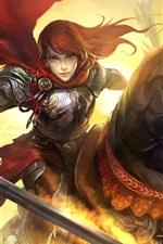 Preview iPhone wallpaper Art pictures, fantasy girl, sword, horse, warrior