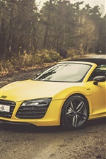 Preview iPhone wallpaper Audi R8 V10 Spyder yellow car