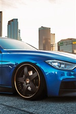 Preview iPhone wallpaper BMW 335i F30 blue car side view