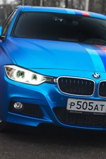 Preview iPhone wallpaper BMW 335i blue car front view