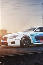 Preview iPhone wallpaper BMW M6 F13 white car side view