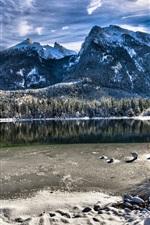 Bavaria, Germany, lake, trees, mountains, winter, snow