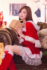 Beautiful girl, Asian, gifts, Christmas, New Year