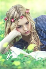 Preview iPhone wallpaper Beautiful girl read book, wreath, grass, flowers