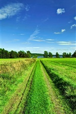 Preview iPhone wallpaper Beautiful scenery, sky, clouds, trees, fields, road