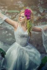 Blonde girl dance, water lilies