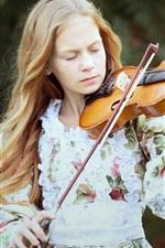 Preview iPhone wallpaper Blonde girl, violin, music