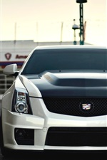 Preview iPhone wallpaper Cadillac CTS-V white car front view