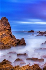 iPhone обои Калифорния, США, пляж, скалы, восход солнца, океан, рассвет