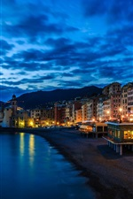 Preview iPhone wallpaper Camogli, Italy, Liguria, house, lights, night, coast, sea