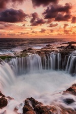 Preview iPhone wallpaper Canary Islands, Spain, sea, sunset, waterfalls, red sky