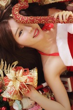 Preview iPhone wallpaper Christmas girl, red dress, long hair