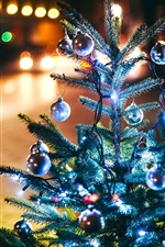 Christmas tree, New Year, balls, lights