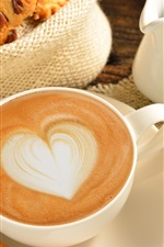 Preview iPhone wallpaper Coffee, love, heart, cup, food, breakfast