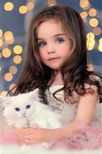 Preview iPhone wallpaper Cute girl, white kitten, lights, bokeh