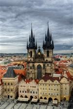 República Checa, Praga, cidade, casas, prédios, nuvens, crepúsculo