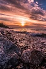 Denmark, coast, sea, surf, rocks, sunset