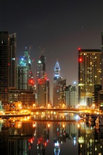 Preview iPhone wallpaper Dubai, city, night, port, boats, yachts, lights, buildings