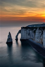 Preview iPhone wallpaper Etretat, France, coast, sea, rocks, sunset