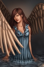 Fantasy angel, girl, wings, blue dress, water