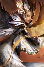 Preview iPhone wallpaper Fantasy girl, phoenix, wings