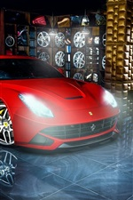 Ferrari F12 red supercar, wheels, indoor