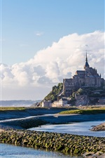 Preview iPhone wallpaper France, Normandy, castle, sky, clouds, sea