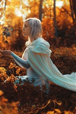 Preview iPhone wallpaper Girl in the forest, white hair, magic