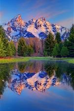 iPhone fondos de pantalla Parque Nacional Grand Teton, Wyoming, EE.UU., árboles, montañas, lago