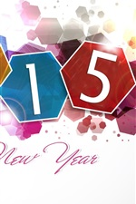 Preview iPhone wallpaper Happy New Year 2015, colorful design