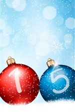 Preview iPhone wallpaper Happy New Year 2015, red blue balls