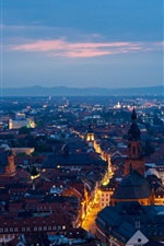 Heidelberg, Germany, city, evening, houses, streets, lights
