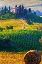 Preview iPhone wallpaper Italy, Tuscany, nature landscape, fields, haystacks, farms, sunrise, morning
