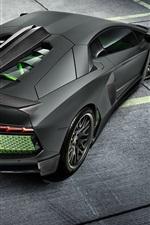 Preview iPhone wallpaper Lamborghini Aventador LP700-4 black supercar back view