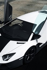 Preview iPhone wallpaper Lamborghini Aventador black white supercar top view