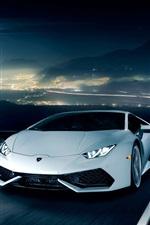 Lamborghini Huracan LP610-4 white supercar, road, night