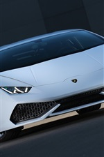 Preview iPhone wallpaper Lamborghini Huracan supercar front view, lights