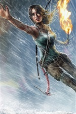 Lara Croft, Tomb Raider, jogo para PC, menina, chuva