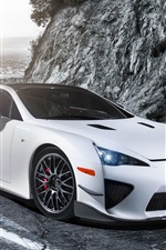 Preview iPhone wallpaper Lexus LFA white car, lights, road