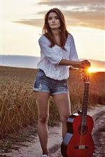 Preview iPhone wallpaper Long hair girl, guitar, sunset, fields
