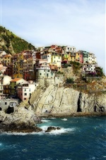 Preview iPhone wallpaper Manarola, Cinque Terre, Italy, Ligurian Sea, rocks, houses, coast