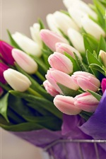 Preview iPhone wallpaper Many flowers, bouquet tulips, water drops, bike