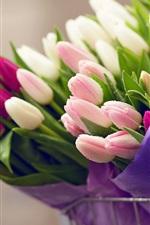 iPhone壁紙のプレビュー 多くの花、花束、チューリップ、水滴、自転車