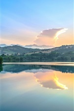 Preview iPhone wallpaper Marche, Italy, river, dawn, trees, water reflection