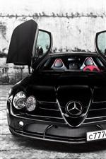 미리보기 iPhone 배경 화면 메르세데스 - 벤츠 검은 자동차 전면보기, 문 열어