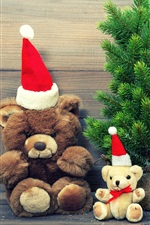 Preview iPhone wallpaper Merry Christmas, hat, decoration, teddy bear