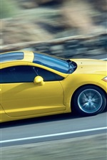 Preview iPhone wallpaper Mitsubishi yellow supercar, speed, road