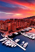 Preview iPhone wallpaper Monaco, sunset, city, house, bay, boats