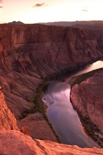 Preview iPhone wallpaper Mountain, river, canyon, red stones